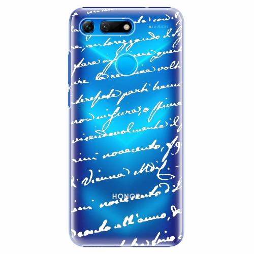 Plastový kryt iSaprio - Handwriting 01 - white - Huawei Honor View 20