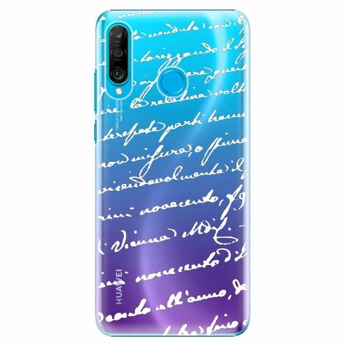 Plastový kryt iSaprio - Handwriting 01 - white - Huawei P30 Lite