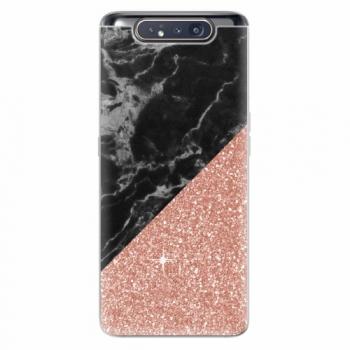Silikonové pouzdro iSaprio - Rose and Black Marble - Samsung Galaxy A80