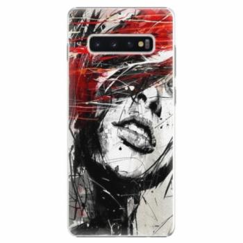 Plastové pouzdro iSaprio - Sketch Face - Samsung Galaxy S10+