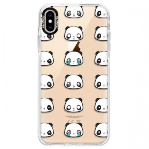 Silikonové pouzdro Bumper iSaprio - Panda pattern 01 - iPhone XS Max