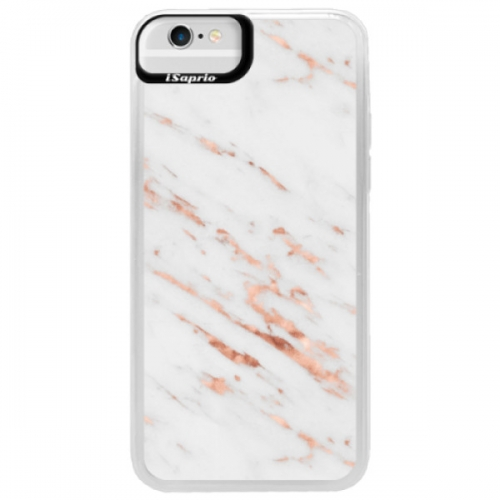 Neonové pouzdro Blue iSaprio - Rose Gold Marble - iPhone 6/6S