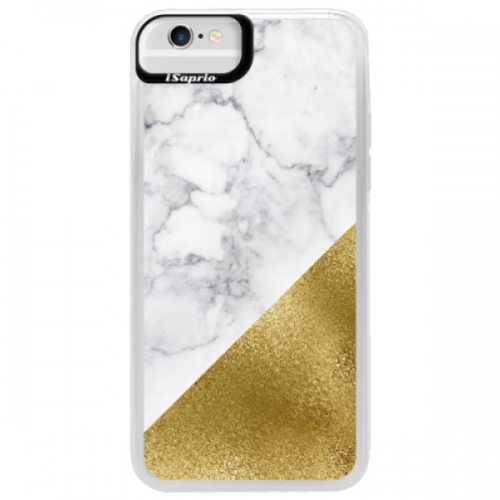 Neonové pouzdro Blue iSaprio - Gold and WH Marble - iPhone 6/6S