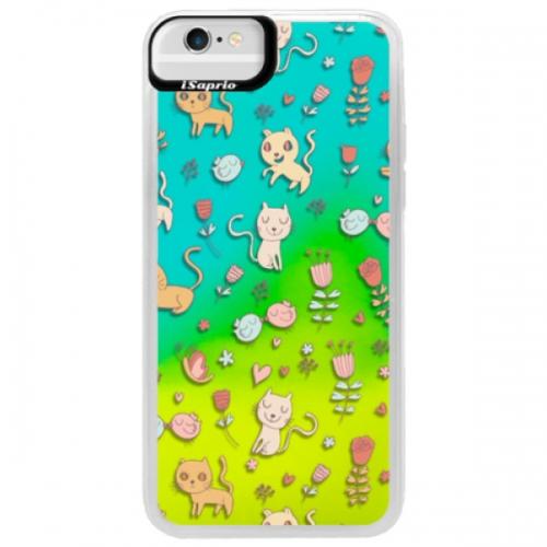 Neonové pouzdro Blue iSaprio - Cat pattern 02 - iPhone 6/6S
