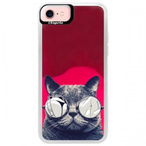 Neonové pouzdro Pink iSaprio - Crazy Cat 01 - iPhone 7