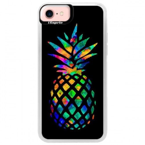 Neonové pouzdro Pink iSaprio - Rainbow Pineapple - iPhone 7
