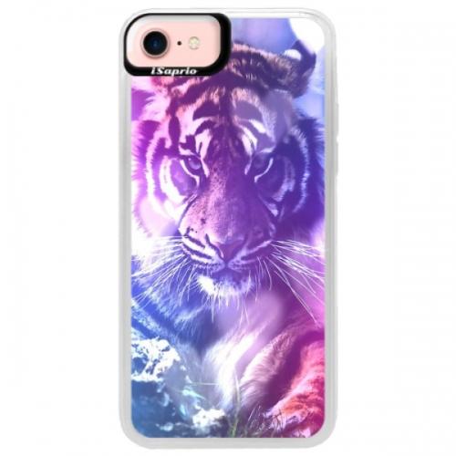 Neonové pouzdro Pink iSaprio - Purple Tiger - iPhone 7