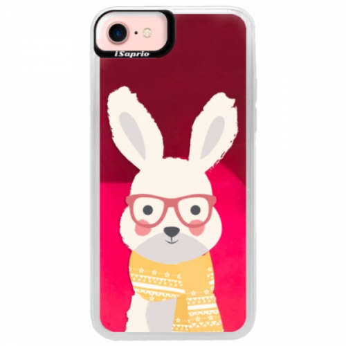 Neonové pouzdro Pink iSaprio - Smart Rabbit - iPhone 7