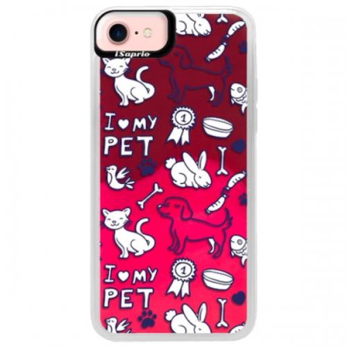 Neonové pouzdro Pink iSaprio - Love my pets - iPhone 7