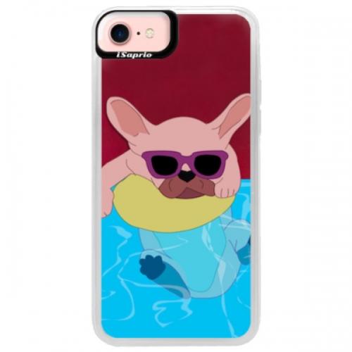 Neonové pouzdro Pink iSaprio - Swimming Dog - iPhone 7