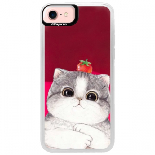 Neonové pouzdro Pink iSaprio - Cat 03 - iPhone 7
