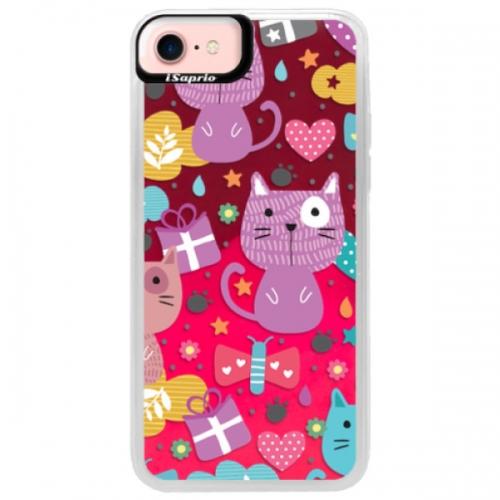 Neonové pouzdro Pink iSaprio - Cat pattern 01 - iPhone 7