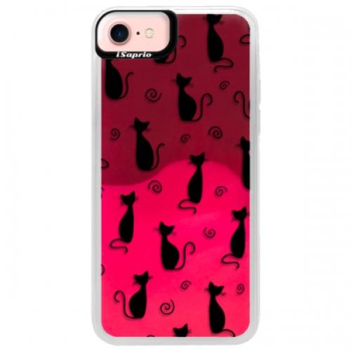 Neonové pouzdro Pink iSaprio - Cat pattern 05 - black - iPhone 7