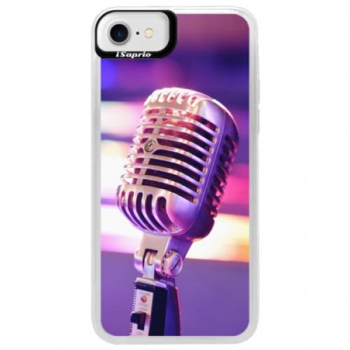 Neonové pouzdro Blue iSaprio - Vintage Microphone - iPhone 7