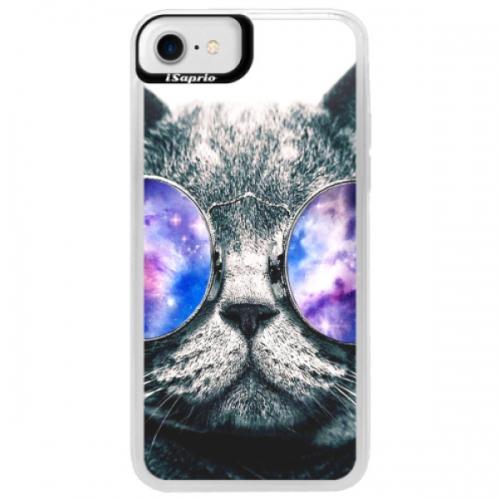 Neonové pouzdro Blue iSaprio - Galaxy Cat - iPhone 7