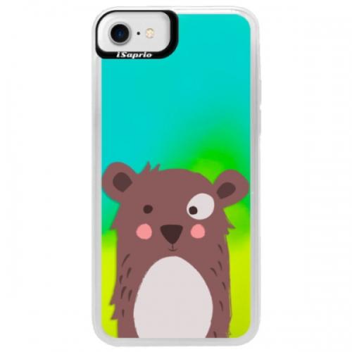 Neonové pouzdro Blue iSaprio - Brown Bear - iPhone 7