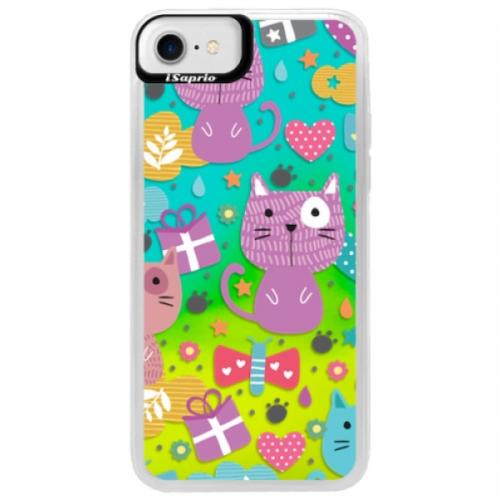 Neonové pouzdro Blue iSaprio - Cat pattern 01 - iPhone 7