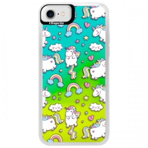 Neonové pouzdro Blue iSaprio - Unicorn pattern 02 - iPhone 7