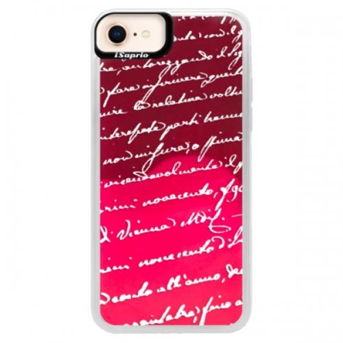 Neonové pouzdro Pink iSaprio - Handwriting 01 - white - iPhone 8