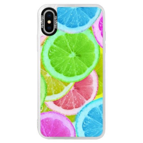 Neonové pouzdro Pink iSaprio - Lemon 02 - iPhone X