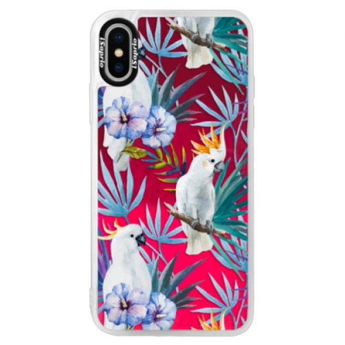 Neonové pouzdro Pink iSaprio - Parrot Pattern 01 - iPhone X