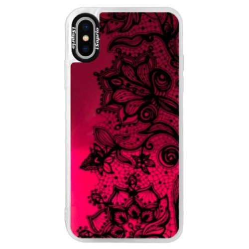Neonové pouzdro Pink iSaprio - Black Lace - iPhone X