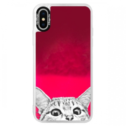 Neonové pouzdro Pink iSaprio - Cat 02 - iPhone X