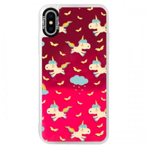 Neonové pouzdro Pink iSaprio - Unicorn pattern 01 - iPhone X