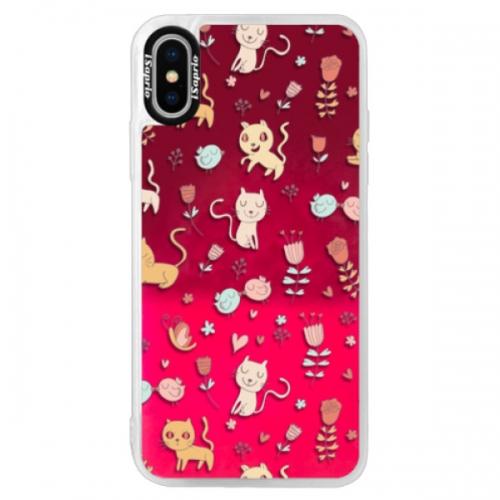 Neonové pouzdro Pink iSaprio - Cat pattern 02 - iPhone X
