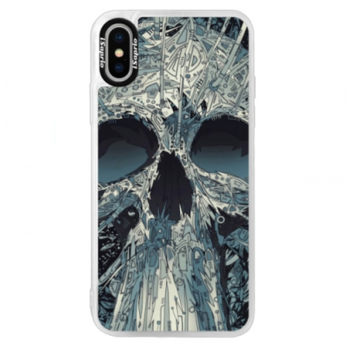 Neonové pouzdro Blue iSaprio - Abstract Skull - iPhone X