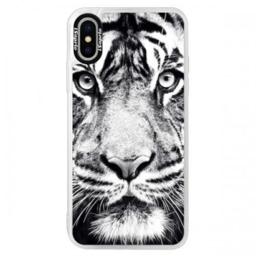 Neonové pouzdro Blue iSaprio - Tiger Face - iPhone X