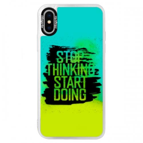 Neonové pouzdro Blue iSaprio - Start Doing - black - iPhone X
