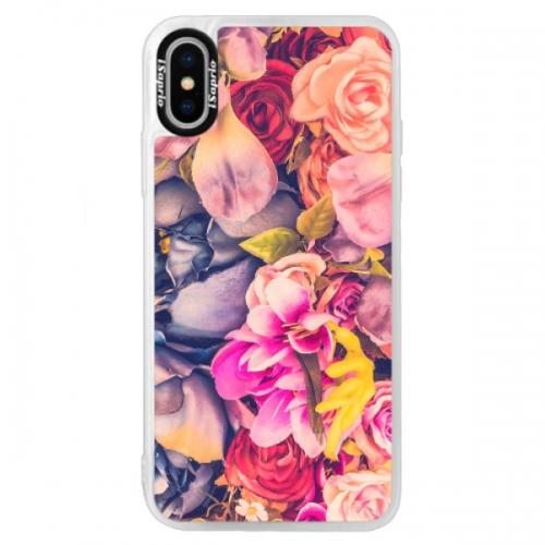 Neonové pouzdro Blue iSaprio - Beauty Flowers - iPhone X