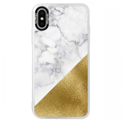 Neonové pouzdro Blue iSaprio - Gold and WH Marble - iPhone X