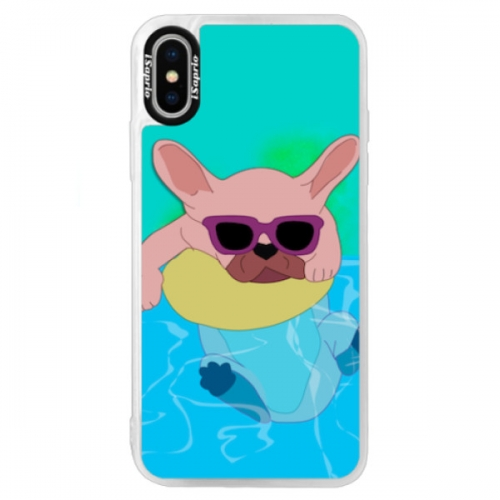 Neonové pouzdro Blue iSaprio - Swimming Dog - iPhone X