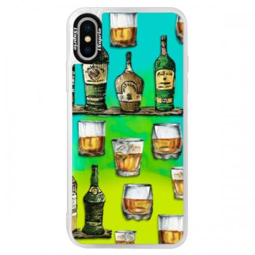 Neonové pouzdro Blue iSaprio - Whisky pattern - iPhone X