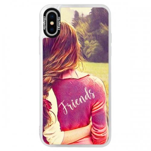 Neonové pouzdro Pink iSaprio - BF Friends - iPhone XS