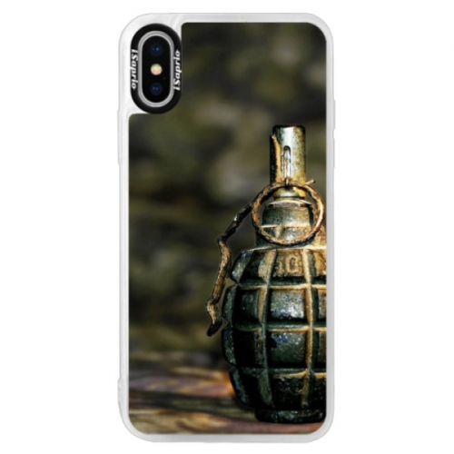 Neonové pouzdro Pink iSaprio - Grenade - iPhone XS