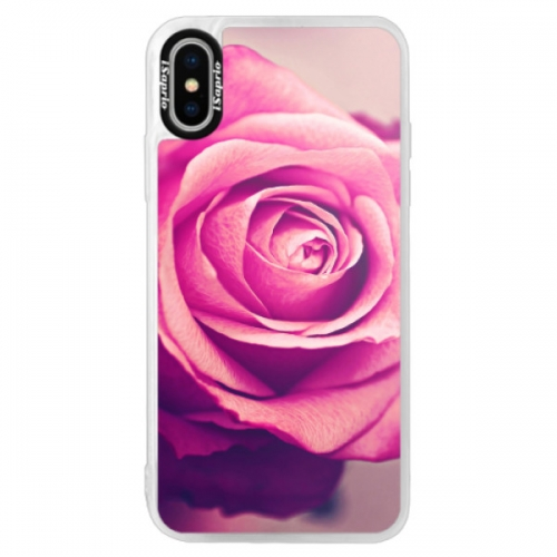 Neonové pouzdro Pink iSaprio - Pink Rose - iPhone XS