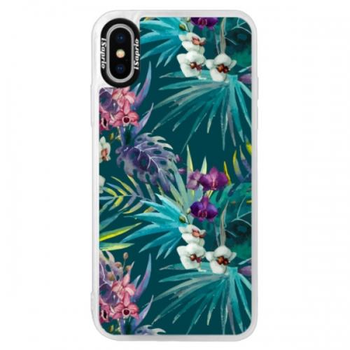 Neonové pouzdro Pink iSaprio - Tropical Blue 01 - iPhone XS