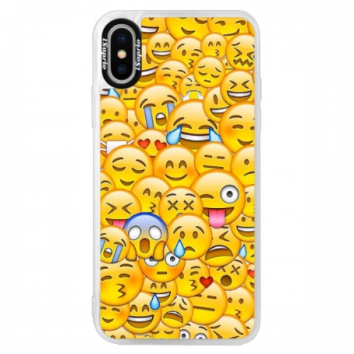Neonové pouzdro Pink iSaprio - Emoji - iPhone XS