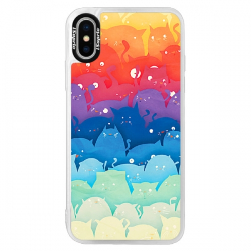 Neonové pouzdro Pink iSaprio - Cats World - iPhone XS