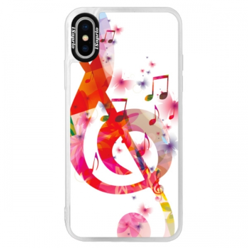 Neonové pouzdro Pink iSaprio - Love Music - iPhone XS