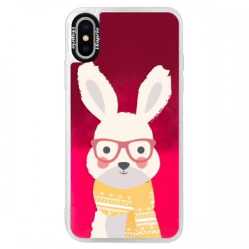 Neonové pouzdro Pink iSaprio - Smart Rabbit - iPhone XS