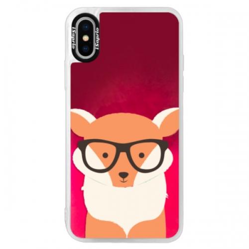 Neonové pouzdro Pink iSaprio - Orange Fox - iPhone XS