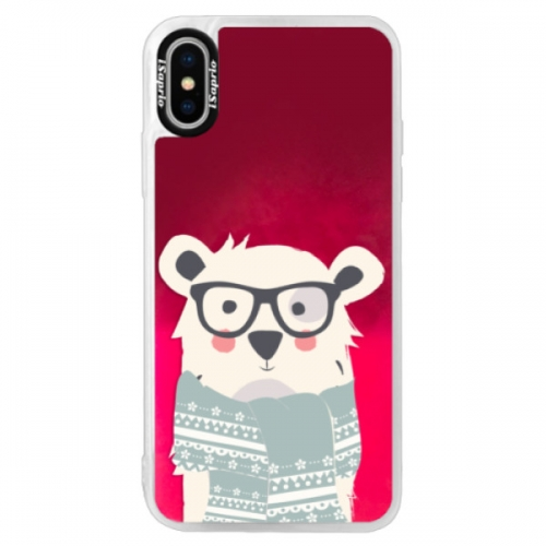 Neonové pouzdro Pink iSaprio - Bear with Scarf - iPhone XS