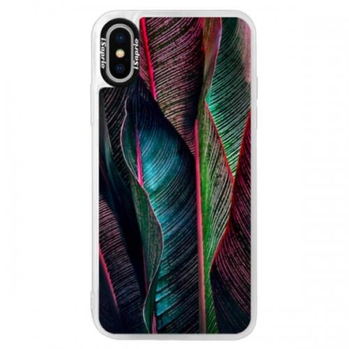 Neonové pouzdro Pink iSaprio - Black Leaves - iPhone XS
