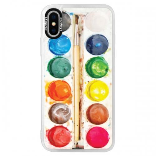 Neonové pouzdro Pink iSaprio - Watercolors - iPhone XS