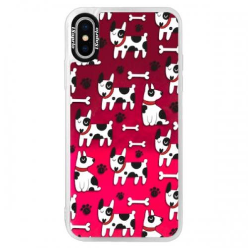 Neonové pouzdro Pink iSaprio - Dog 02 - iPhone XS