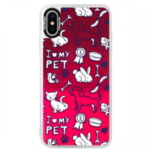 Neonové pouzdro Pink iSaprio - Love my pets - iPhone XS